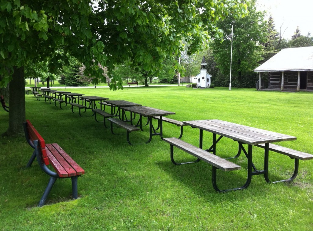 Picnic tables on the museum grounds